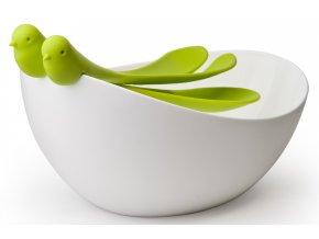 QUALY mísa s nástroji Sparrow Salad Bowl bílá-zelená