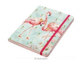 SANTORO  zápisník A5 Flamingos