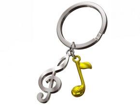 MTM - klíčenka Houslový klíč se zlatou notou