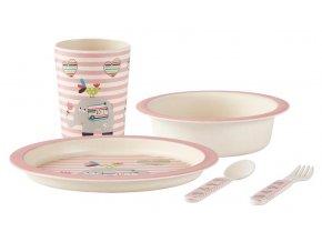 KJ Collection bambusová dětská jídelní sada růžová
