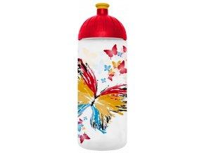 Pastová lahev do školy 0,7l Motýl transparentní