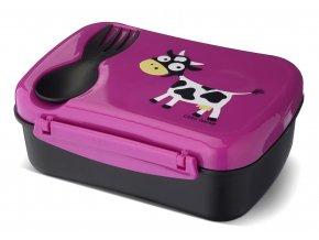 Carl Oscar dětský svačinový box purpurový kravička