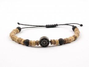 Moni - pánský náramek dřevěné korálky s kotvou