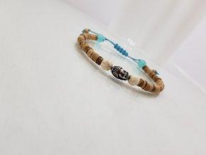 Moni - náramek tyrkysová šňůrka dřevěné korálky budha