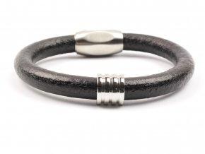 Pánský kožený náramek černý ocel