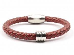 Pánský kožený náramek retro red ocel