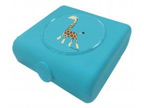 Carl Oscar dětský svačinový sandwich box tyrkysový žirafa