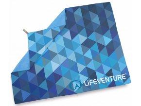 Lifeventure ručník Printed SoftFibre Trek Towels blue triangles