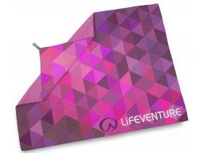 Lifeventure ručník Printed SoftFibre Trek Towels pink triangles