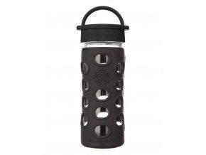 Lifefactory skleněná lahev s klasickým uzávěrem 350ml Onyx Black