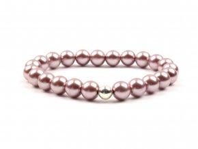 dámský náramek voskované perly starorůžová tmavší