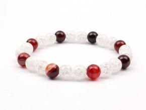 Moni - dámský náramek achát červený křišťál praskaný