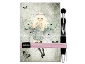 Santoro - zápisník + propiska Gorjuss - Miss Butterfly