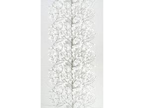 Marimekko - tapeta Lumimarja bílo - stříbrná