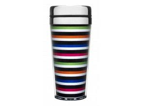 Sagaform - Cestovní termohrnek Striped Car Mug, úzké proužky 400 ml