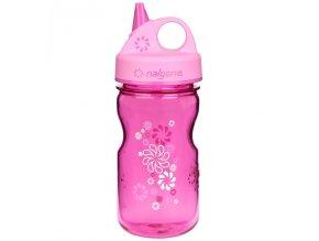 Odolná láhev pro děti a batolata Nalgene růžová s ornamentem