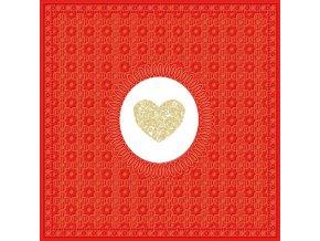 PPD - papírové ubrousky Medaillon Srdce červené