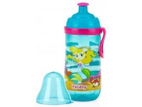 NUBY sportovní lahev Pop-Up 360 ml, 18m+ tyrkysová