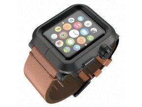 Lunatik EPIK pro Apple Watch 42 mm - černé aluminium, hnědá kůže