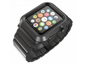 Lunatik EPIK Metal Link pro Apple Watch 42 mm - černé aluminium, černý kov