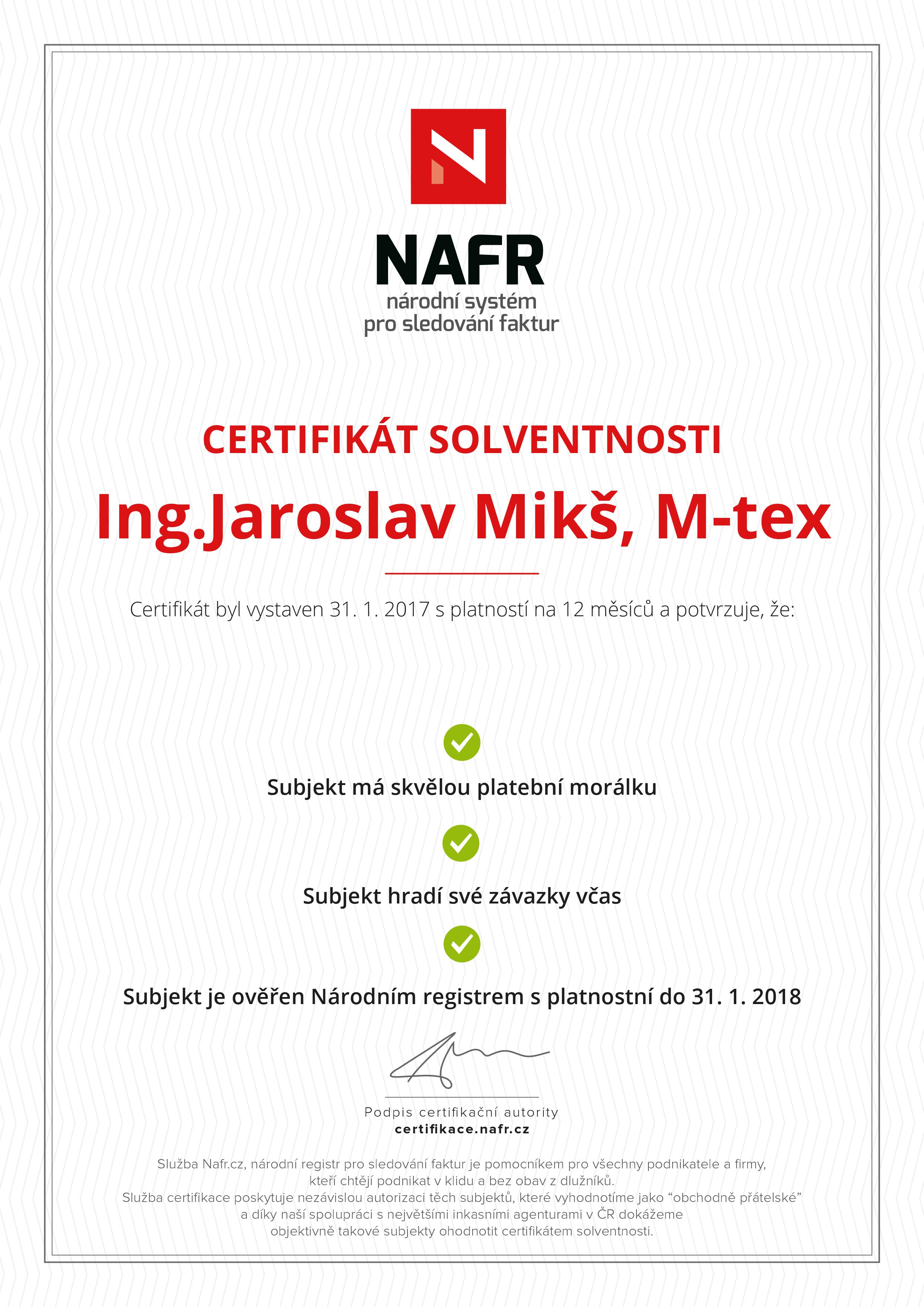Certif.solvence