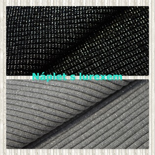 Náplet hrubý 3x3 se stříbrným lurexem je velmi příjemný materiál , který můžete použít na lemy tepláků , mikin , těhotenské sukně , kalhoty , ale také na čepice , nákrčníky aj..