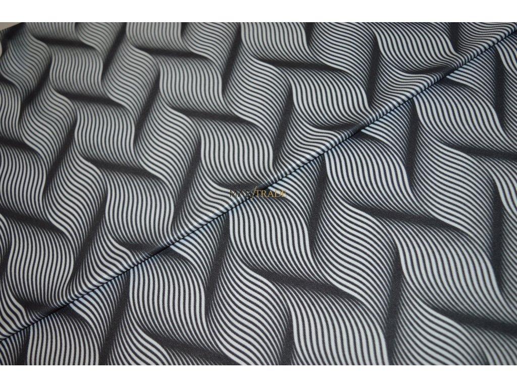 Jednolícní úplet Pes/El digi tisk  3D Vlnky černo bílé Kód 5904-1105