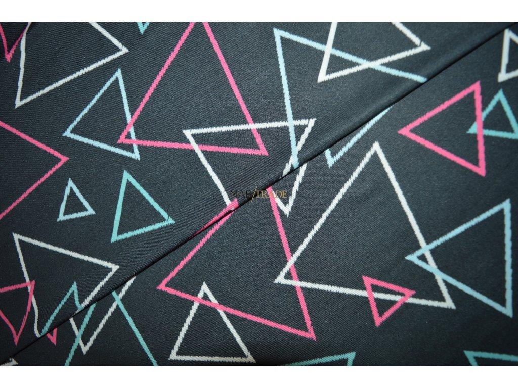 Úplet elastický digi tisk Barevné trojúhelníky Kód 5904-1104