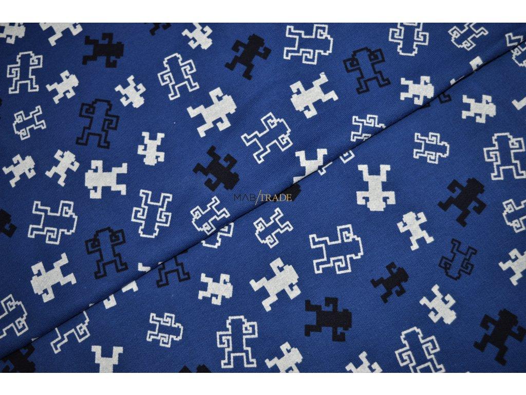 Elastická teplákovina tisk Roboti Bílí a Černí na Modré Kód 4814-1011