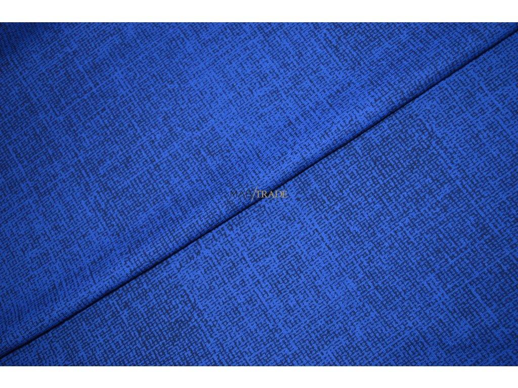 Elastická teplákovina tisk Černá na Modré Kód 4814-1013