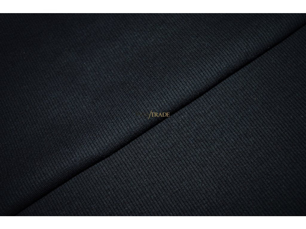 Bavlněný úplet - RIB 2x1 Hrubý Černý Kód 6222-4002