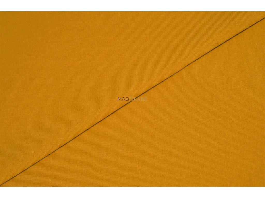 Bavlněný úplet - elastický jednolíc fitness  tmavě Žlutá Kód 2906-0535