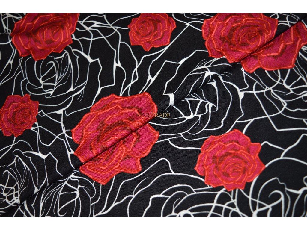 Viskózový úplet digi tisk Květ růže Kód 9113-1110