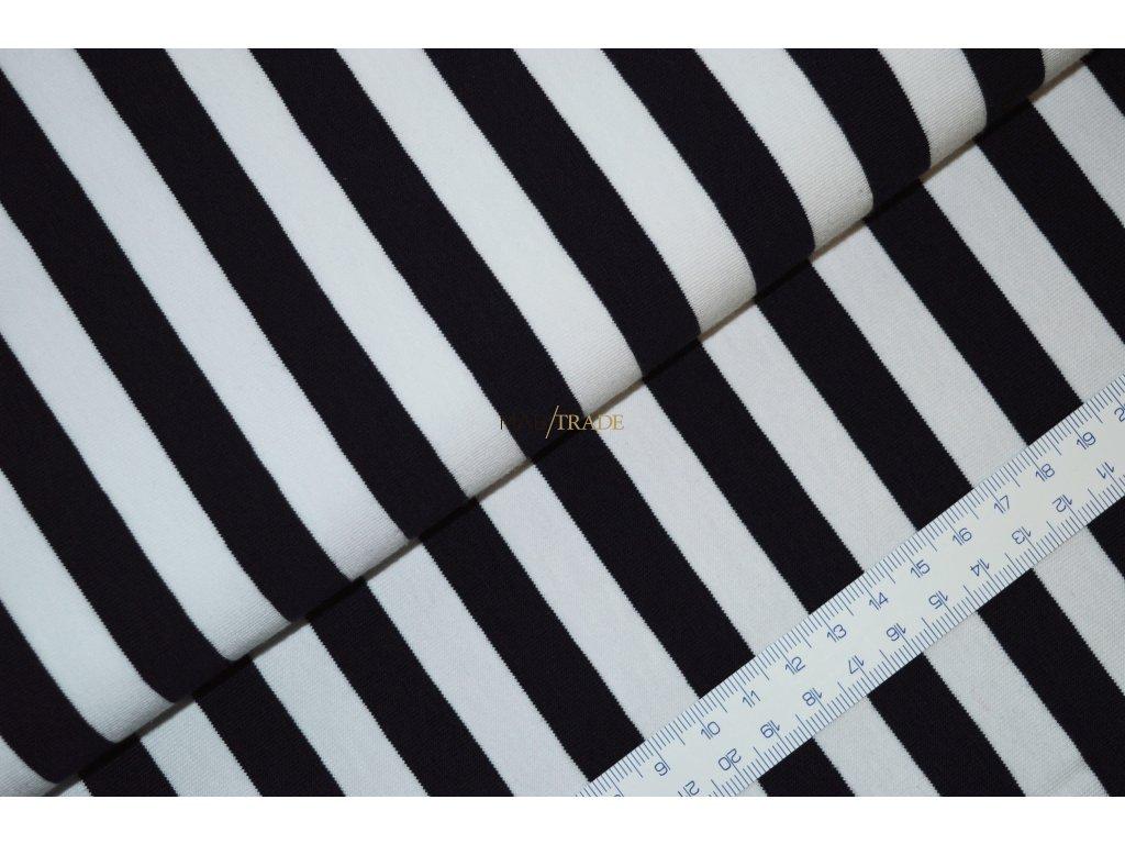 Úplet elastický jednolíc Pruhy 1,2cm -Modro/Bílá 2912-0200