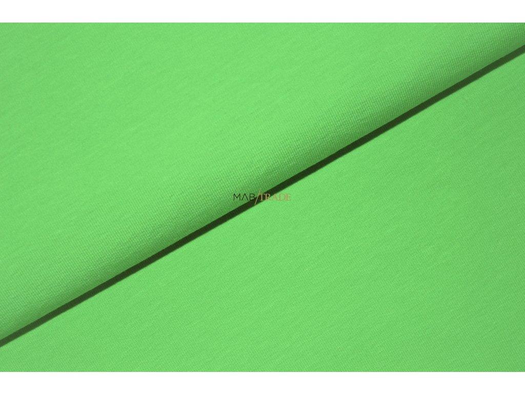 Bavlněný úplet - elastický jednolíc fitness Zelená Kód 2906-1401