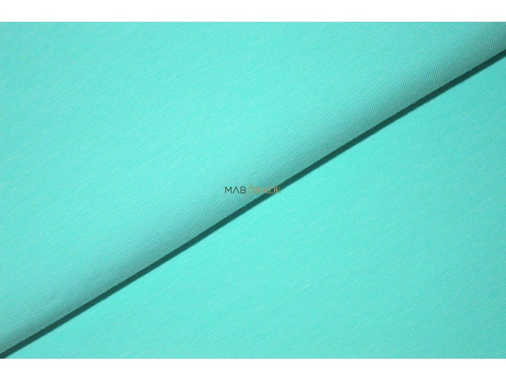 Bavlněný úplet - elastický jednolíc fitness Světlý Tyrkys Kód 2906-2101