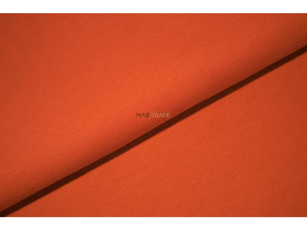 Bavlněný úplet - oboulícní  100% Ba Oranžová Kód 1200-0602