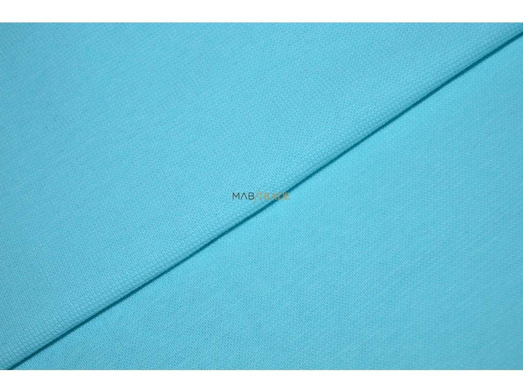 Bavlněný úplet - RIB 1x1 hladký světlý Tyrkys Kód 6201-2101