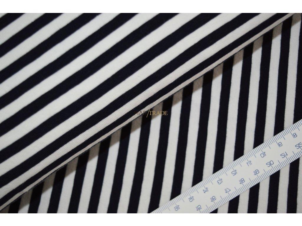 Elastický jednolíc FITNESS - PRUHY - Bílá/modrá 2912-0100