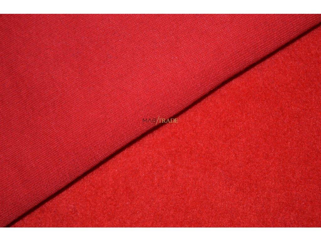 Elastická teplákovina  Ba/Pes počesaná Červená Kód 4220-1101