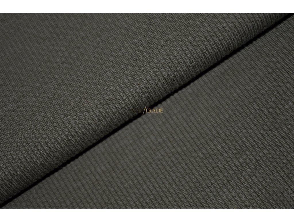 Bavlněný úplet - RIB 2x1 slabý tm. Olivový  - Kód 6211-5103