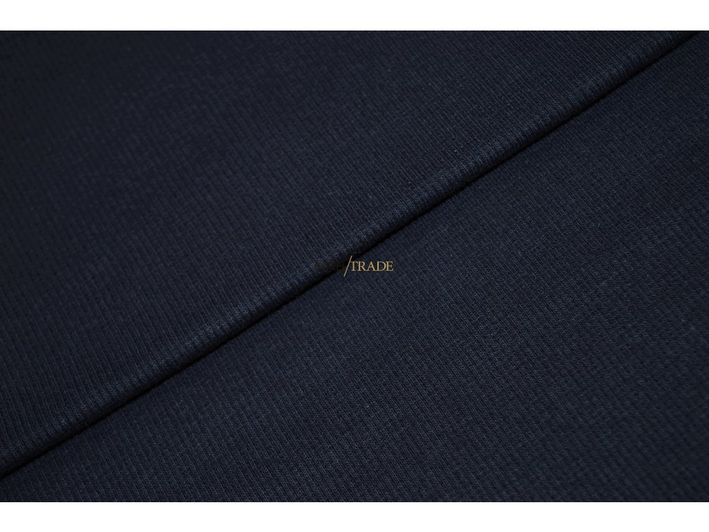 Bavlněný úplet - RIB 2x1 slabý tm.  Modrý  Kód 6211-2003