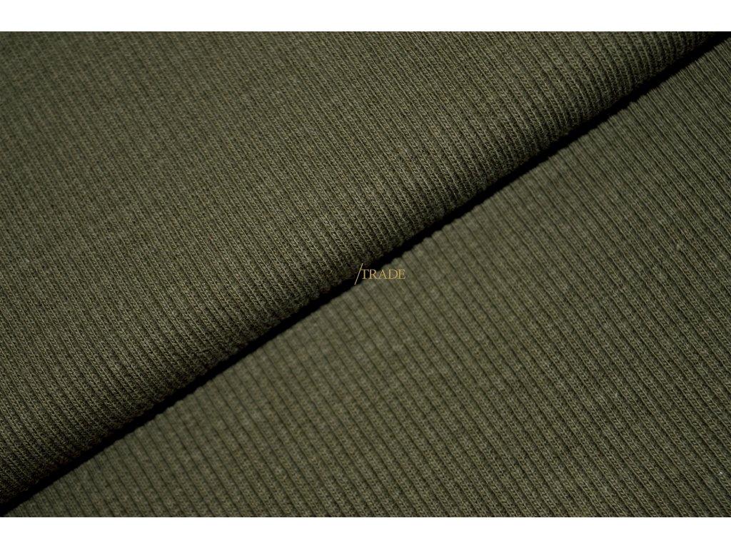Bavlněný úplet - RIB 2x1 slabý Khaki Kód 6211-2802
