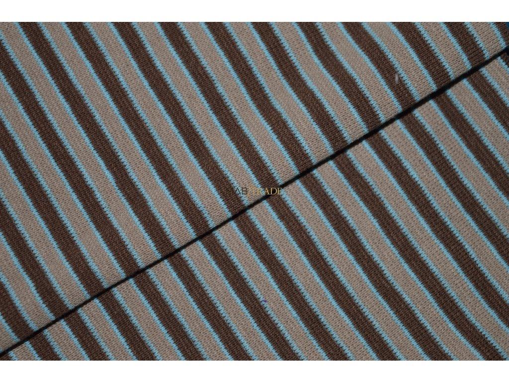 Bavlněný úplet - RIB 1x1 Hnědý a Modrý pruh Kód 6202 - 0001/R