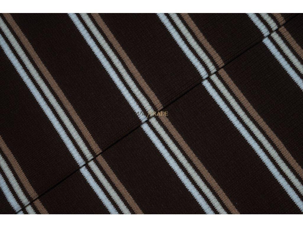 Bavlněný úplet - RIB 2x1 Hnědý pruh Kód 6212-1717