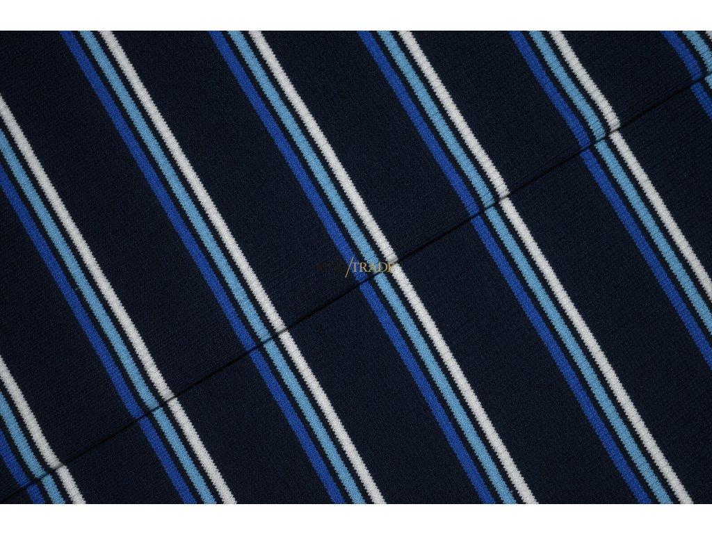 Bavlněný úplet - RIB 2x1- tmavě Modrý pruh Kód 6212-1714