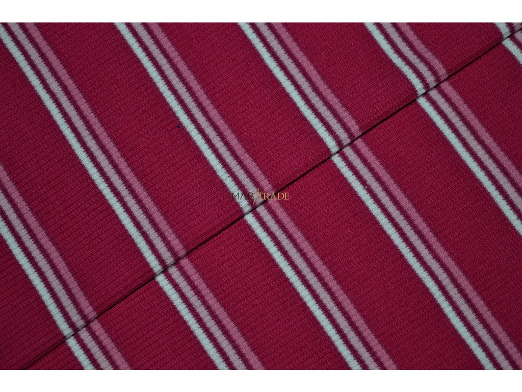 Bavlněný úplet - RIB 2x1- Růžový tenký pruh Kód 6212-1712