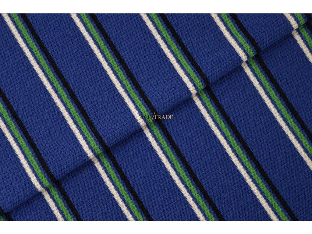 Bavlněný úplet - RIB 2x1-  Modrý pruh Kód 6212-1715