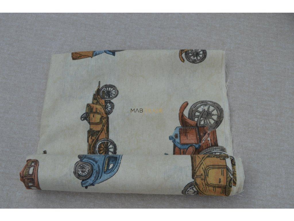 Bavlněné plátno Loneta AUTA Kód 1081-1010