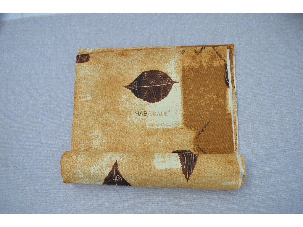 Bavlněné plátno Loneta hnědé listy Kód 1081-1014